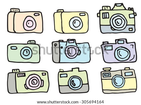 Hand Drawn line camera illustration in vector. Retro hand drawn hipster photo camera isolated. Rough, careless line drawing. Cameras in cartoon style.Soft pastel shades and colors. - stock vector