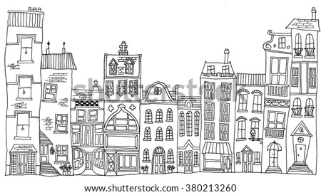 Hand drawn line drawings of various whimsical houses and buildings - stock vector