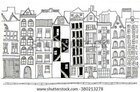 Hand drawn line drawings of various whimsical houses and buildings