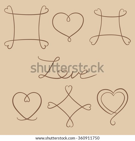 Hand drawn line frames with heart shape on craft paper. Set of copy spaces. Vector decorative design elements. Happy valentine day background.  - stock vector