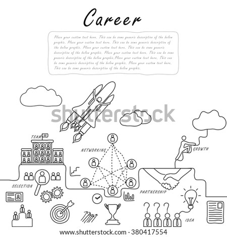 hand drawn line vector doodle of concept of career growth, company and employees. also represents selecting candidates, promotion, climbing corporate ladder, networking, human resource & management - stock vector