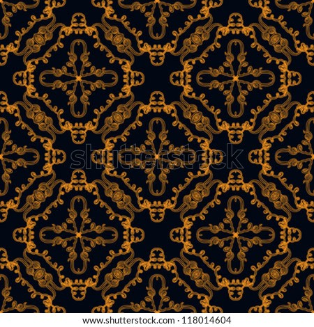 hand drawn linear pattern with gold lines, website background or holiday wrapping paper or elegant wedding invitation background, seamless vector in baroque and rococo style with damask motifs - stock vector