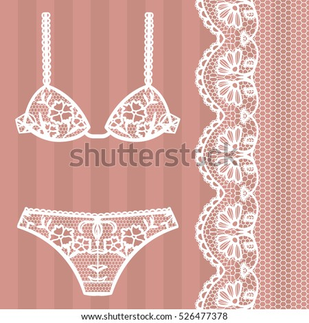 Hand drawn lingerie. Panty and bra set. Vector illustration.