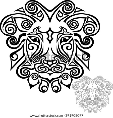 Hand drawn lion head stylized Maori face tattoo. Vector