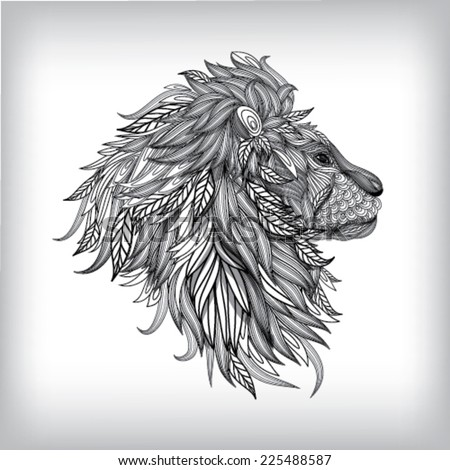 Hand Drawn Lion Illustration, Vector background EPS10