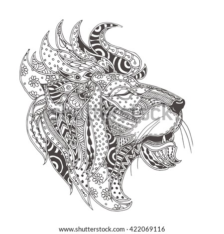 Handdrawn Lion Ethnic Floral Doodle Pattern Stock Vector