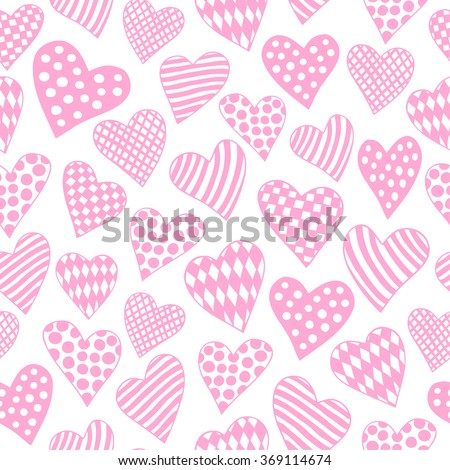 Hand-drawn Little Hearts - Pink And White Seamless Pattern