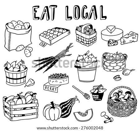 hand-drawn local food doodles - stock vector