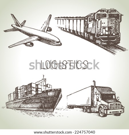 Hand drawn logistics and delivery sketch icons set. Vector illustration - stock vector