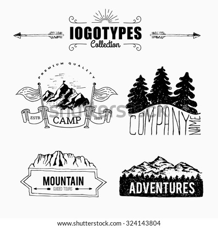 Hand-Drawn logo set. Retro collection of outdoor company, camping, adventure labels. Old style elements, mountain, lettering, ribbon banner - stock vector