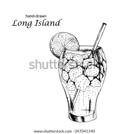 Hand drawn Long Island cocktail. Vector illustration in sketch style for restaurant menus and wine lists. - stock vector