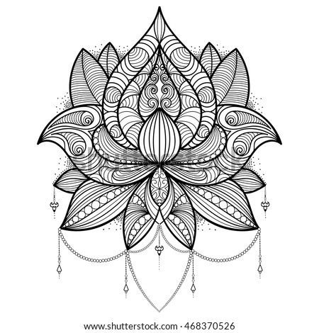 Hand Drawn Lotus Flower For Coloring Book Tattoo T Shirt Card