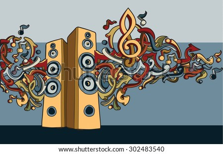 Hand drawn loudspeakers with notes and graffiti arrows - stock vector