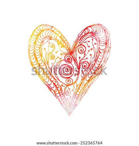 Hand drawn love heart isolated on white. Zentangle watercolor. - stock vector