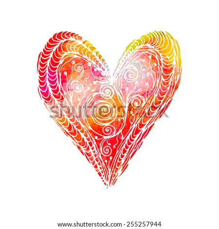 Hand drawn love heart. Zentangle. Watercolor. - stock vector