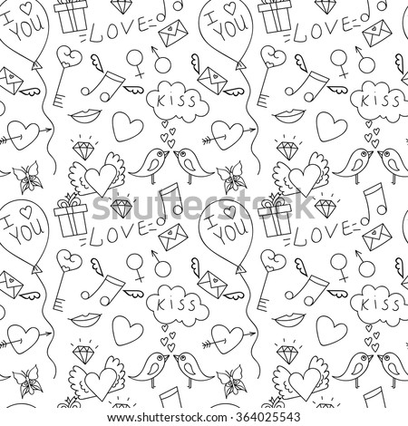 Hand Drawn Love Seamless Pattern For St Valentinea Day Adult Coloring Pages
