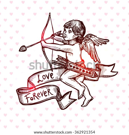 Hand Drawn Love, Wedding And Valentines Day Card With Cupid. Vintage Sketch Style - stock vector