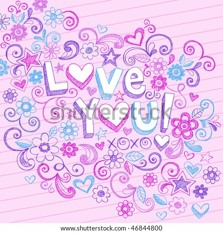 Hand-Drawn Love You! Lettering and Flowers Sketchy Notebook Doodles Design Elements on Pink Lined Paper Background- Vector Illustration - stock vector