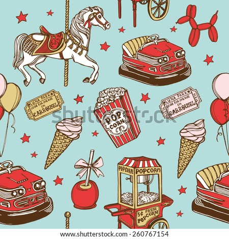 Hand drawn luna park vintage seamless pattern. Carousel horse, pop corn, balloon dog, candy apple, ice cream, amusement park tickets, air balloons, bumper car, popcorn machine. Blue background - stock vector