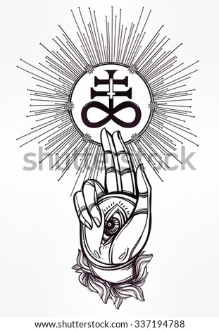 Hand drawn magic hand with Satanic cross. Isolated vector illustration. Spiritual Tattoo art.