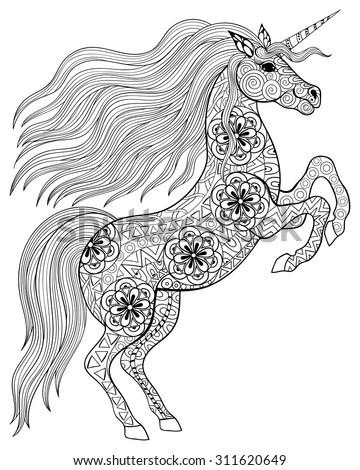 Kinder Kleurplaat Paard Hand Drawn Magic Unicorn Adult Anti Stock Vector 311620649