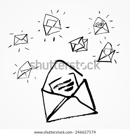 Hand-drawn mail. Vector sketch. Inbox icon set. - stock vector