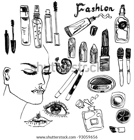 Hand-drawn makeup set with imaginary model - stock vector