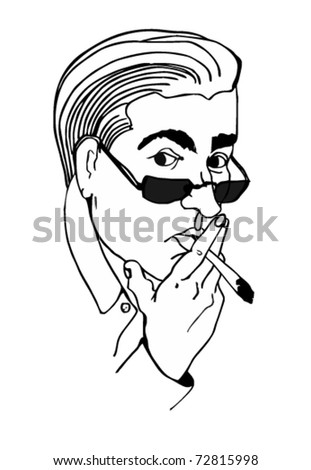 hand-drawn male smokers