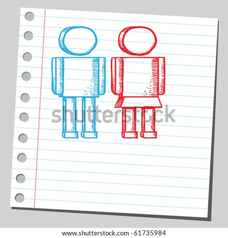 Hand drawn man and woman - stock vector