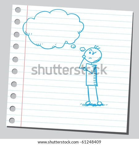 Hand drawn man thinking - stock vector