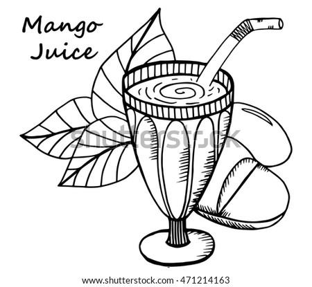 Hand Drawn Mango Juice In A Glass