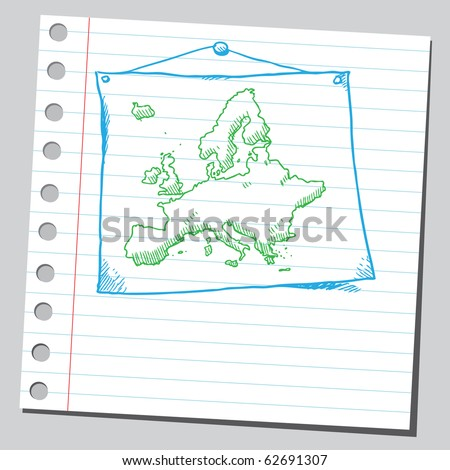 Hand drawn map of Europe - stock vector