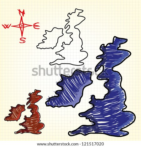Hand drawn map of the United Kingdom and Ireland - stock vector