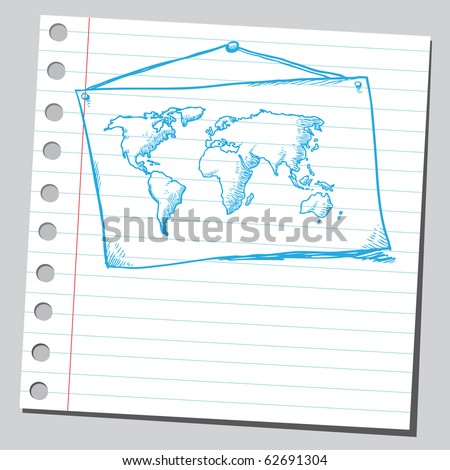 Hand drawn map of the world - stock vector