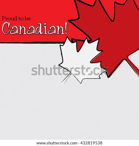Hand drawn maple leaf Canada Day card in vector format. - stock vector
