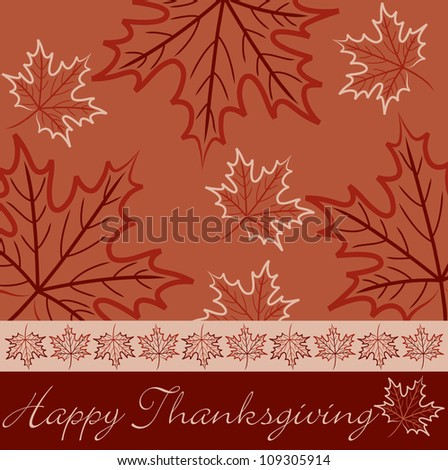 Hand drawn maple leaf Thanksgiving card in vector format. - stock vector