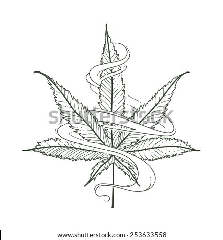 Hand-drawn marijuana leaf with smoke. Vector illustration. - stock vector
