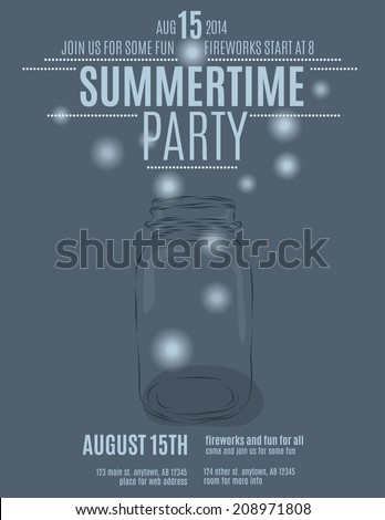hand drawn mason jar background flyer template for a summer party vector - stock vector