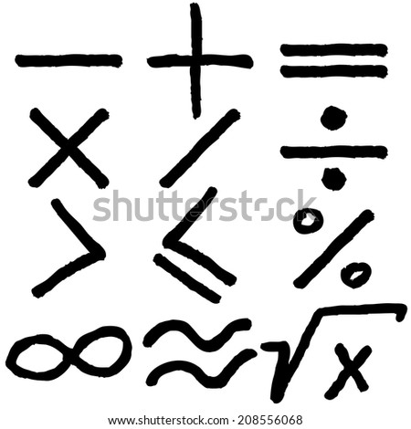 Hand drawn math icons design set - stock vector