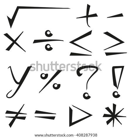 hand drawn math signs - stock vector