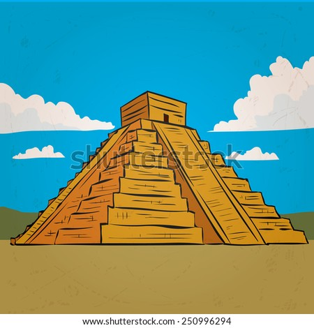 Hand drawn mayan pyramid - stock vector