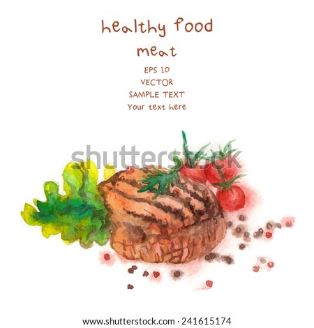 Hand Drawn Meat, watercolor-style Vector Illustration For Food Design. - stock vector