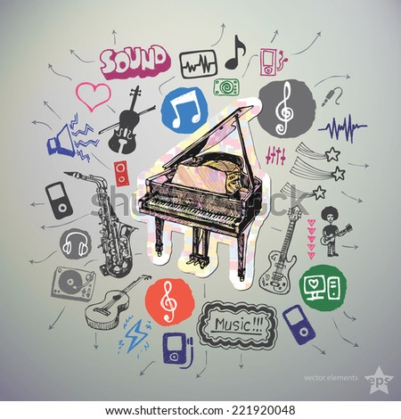 Hand drawn media icons set and sticker with piano. Vector - stock vector