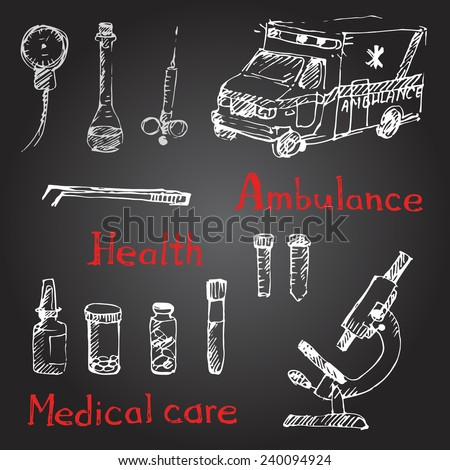 Hand drawn medical icons sketch. Chalk on a blackboard. Vector illustration. - stock vector