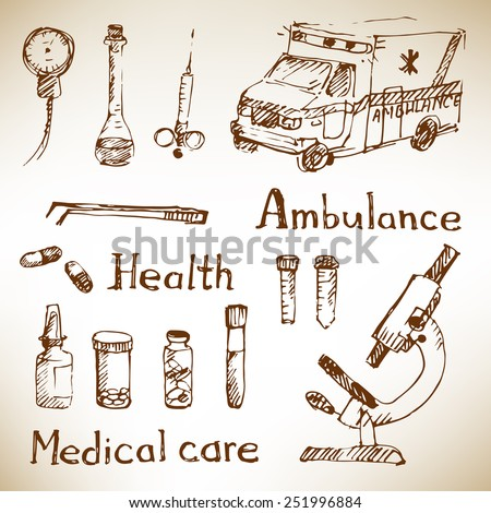 Hand drawn medical icons sketch on brown paper. Vector illustration. - stock vector