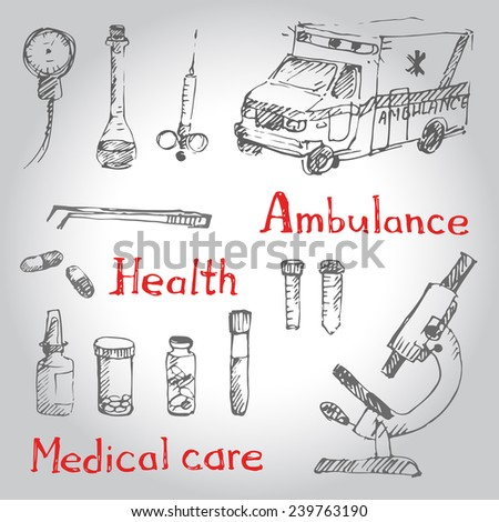Hand drawn medical icons sketch. Vector illustration. - stock vector