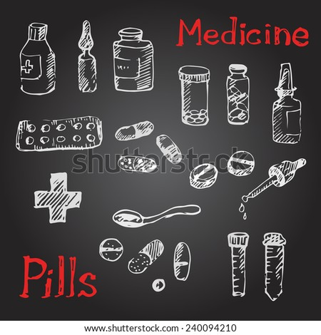 Hand drawn medical icons sketch with pills and tablets. Chalk on a blackboard. Vector illustration. - stock vector
