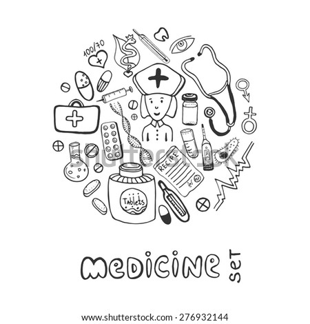 Hand drawn medicine doodle icons set. Medical and healhcare sketches collection - stock vector
