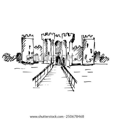 Hand drawn medieval castle. Vector illustration. - stock vector