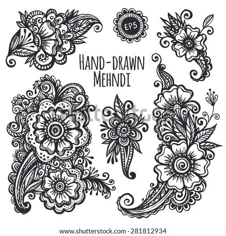 Hand-drawn mehendi flowers vector set - stock vector